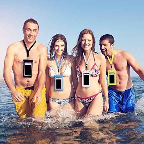 Firstbuy Universal Waterproof Case Waterproof Phone Pouch IPX8 Dry Bag For iPhone 8/7/7 Plus/6S/6/6S Plus/SE/5S, Samsung Galaxy S8/S8 Plus/Note 8 6 5 4, Google Pixel 2 HTC LG Sony MOTO - 4 Pack by Firstbuy (Image #6)