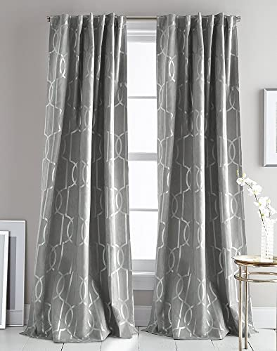 DKNY Atrium Faux Suede Metallic Print Window Curtain Panel Pair