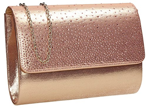 Natalie Diamante Metallic Womens Party Prom Ladies Clutch Bag - Rose Gold