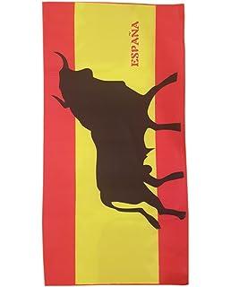 Toalla de Playa Estampada con la Bandera Española con Toro - Medidas 140 x 70