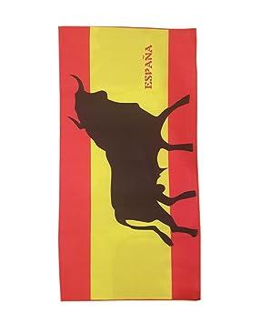 Toalla de Playa Estampada con la Bandera Española con Toro - Medidas 140 x 70: Amazon.es: Deportes y aire libre