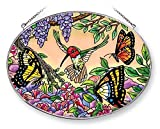 Amia 42051 9 by 6-1/2-Inch Hand Painted Glass Oval Suncatcher, Large, Hummingbird and Butterfly Design
