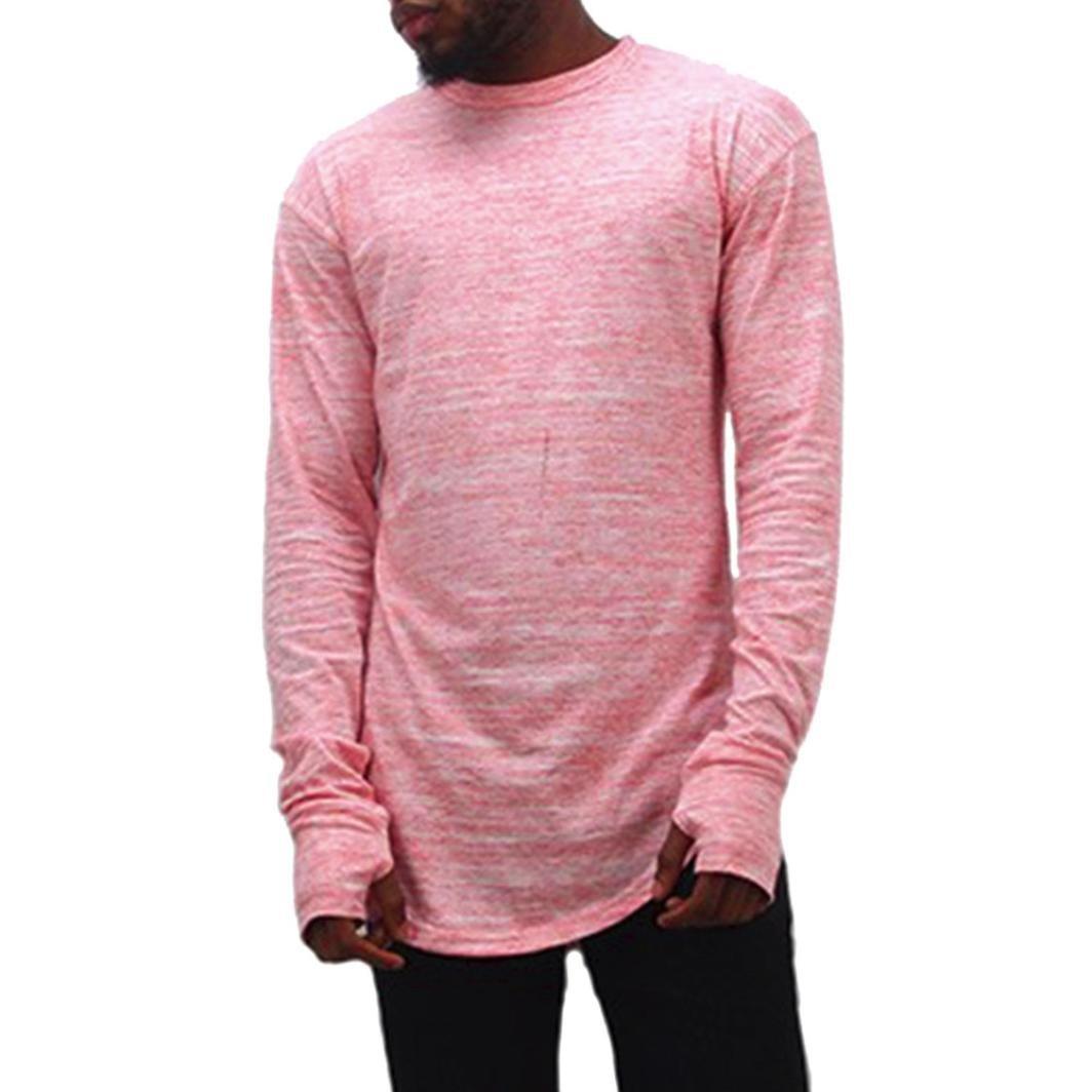 Men's Tops Ankola Mens Thumb Hole Cuffs Long Sleeve T-Shirt Basic Tee Slim Fit Blouse Hipster T Shirt O Neck Curved Hem (M, Pink)
