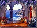 """""""Unrivaled Splendor"""" by Mikki Senkarik - Artwork On Tile Ceramic Mural 18"""" x 24"""" Kitchen Shower Backsplash"""