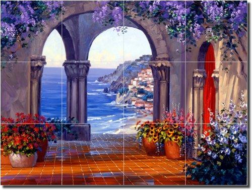 ''Unrivaled Splendor'' by Mikki Senkarik - Artwork On Tile Ceramic Mural 18'' x 24'' Kitchen Shower Backsplash