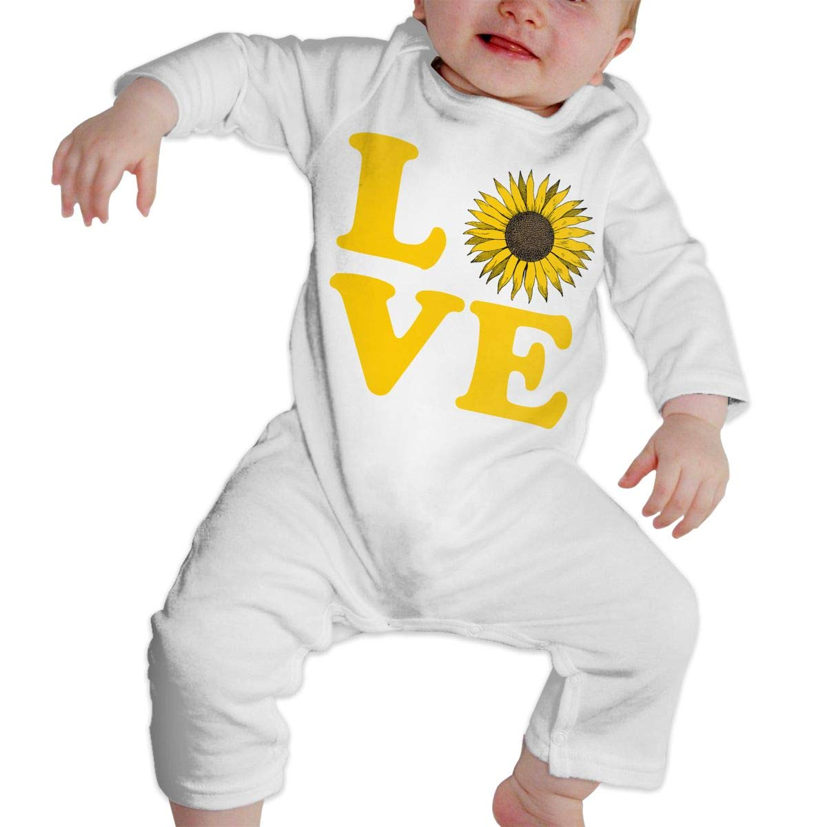 Newborn Kids Long Sleeved Coveralls Love Sunflower Toddler Jumpsuit