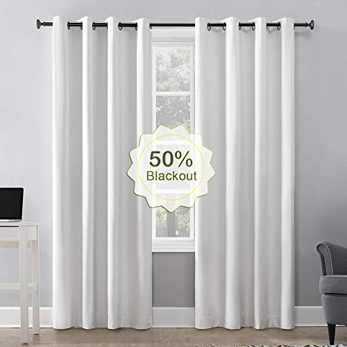 Blackout Curtains for Bedroom, Drapes for French Door and Windows, Blackout Curtains for Windows Blackout Curtains Door Window Drapes and Curtains Blackout-Pure White W52 X L95