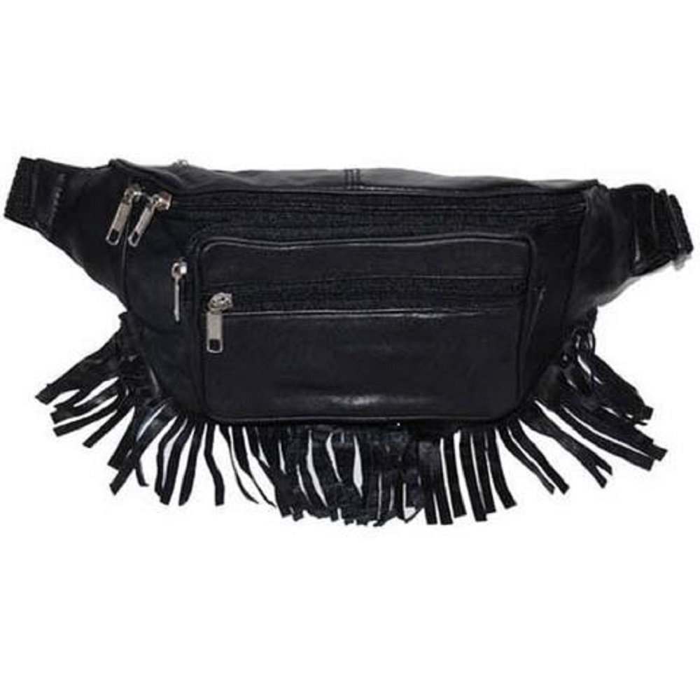 Genuine Leather Music Festival Fur Boho Red Indians Fringe Fanny Pack/Hip Pouch (JTC-51605) by Juzar Tapal Collection (Image #8)