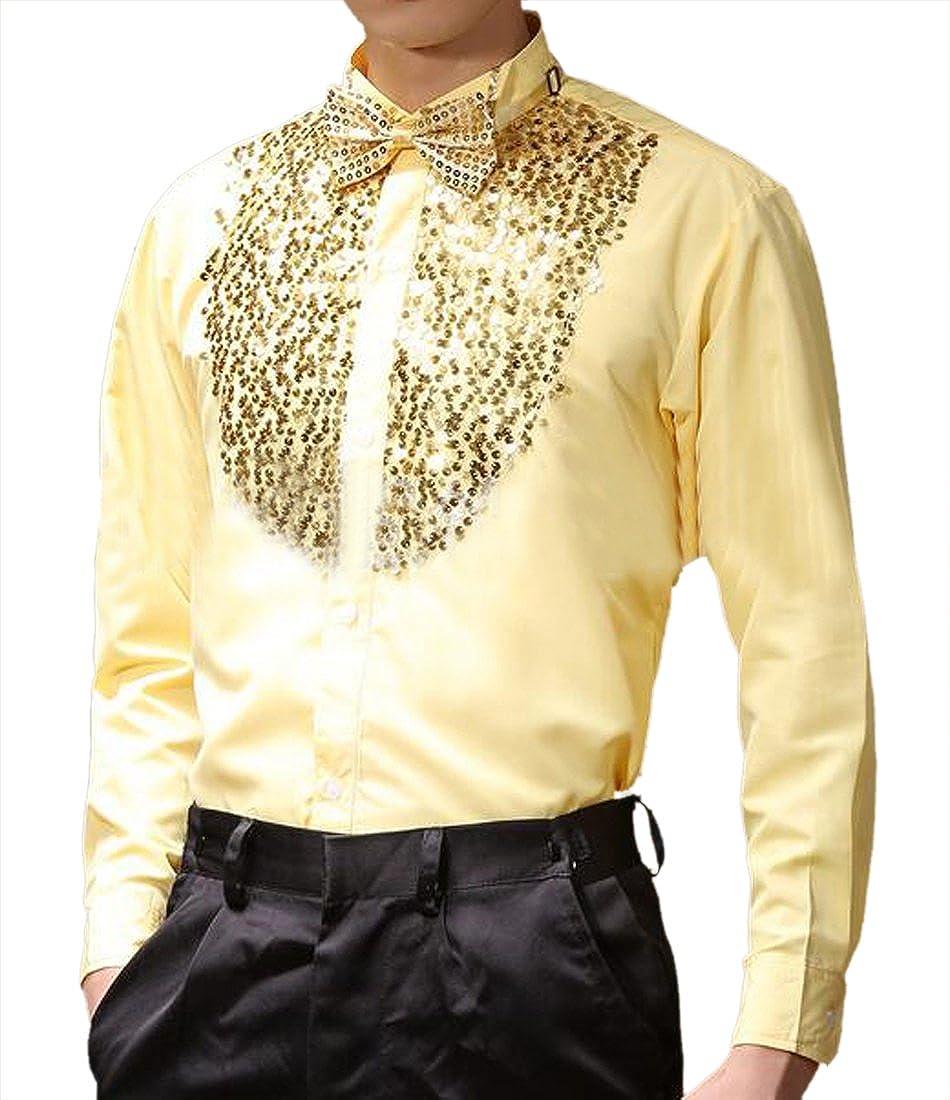 Hajotrawa Men Sequin Prom Long Sleeve Glitter Jersey Button Down Shirt