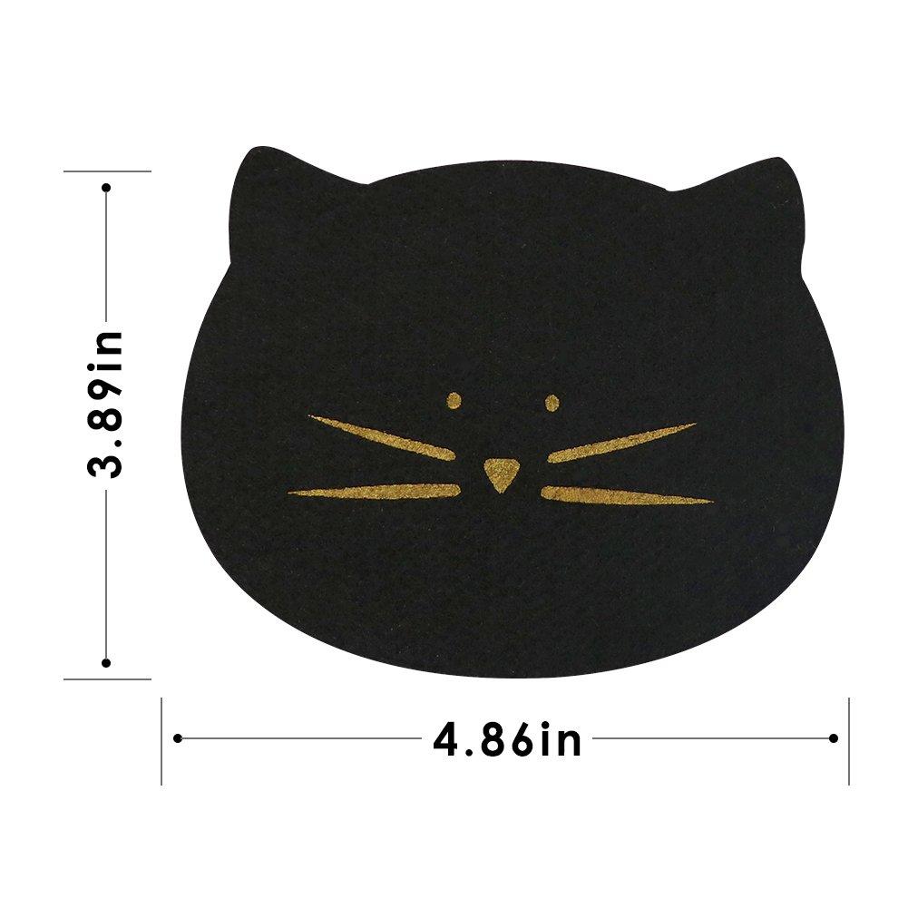 Koolkatkoo Cute Felt Absorbent Gold Cat Face Drink Coasters Set for Women Cat Lover Unique Coaster of 4 Black