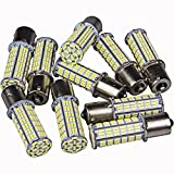 Super Bright 1156 LED Replacement Light Bulbs 1141 for RV Camper Trailer Interior Lights BA15S 1003 Backup Reverse Turn Signal Home Garden Landscape Landscaping Bulb (10-Pack, Pure White)