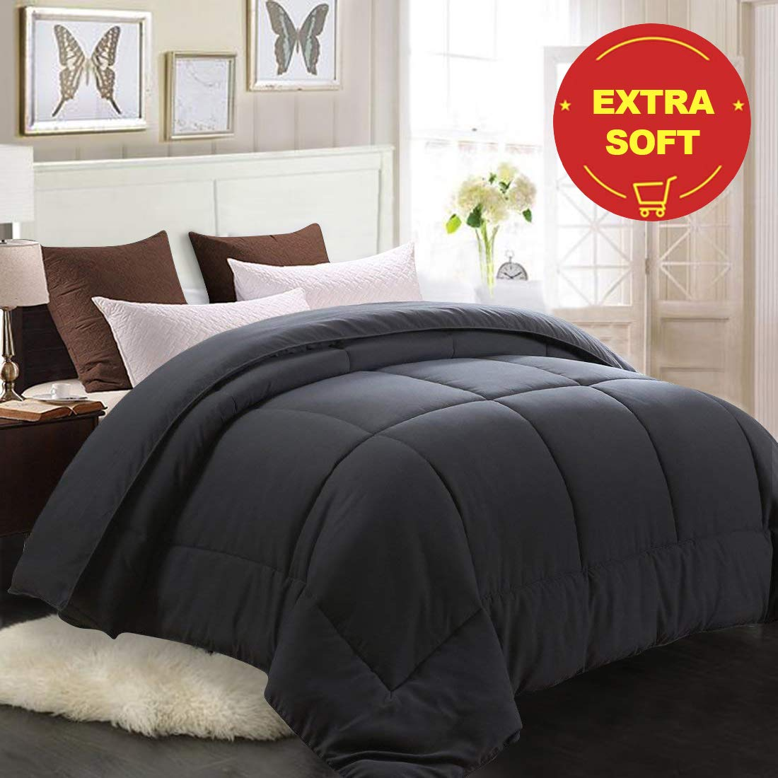 promo codes wholesale online best price MEROUS Twin Comforter - Soft Quilted Down Alternative Duvet Insert with  Corner Tabs,Summer Fluffy Reversible Hotel Collection Comforter -  Gray,64x88 ...