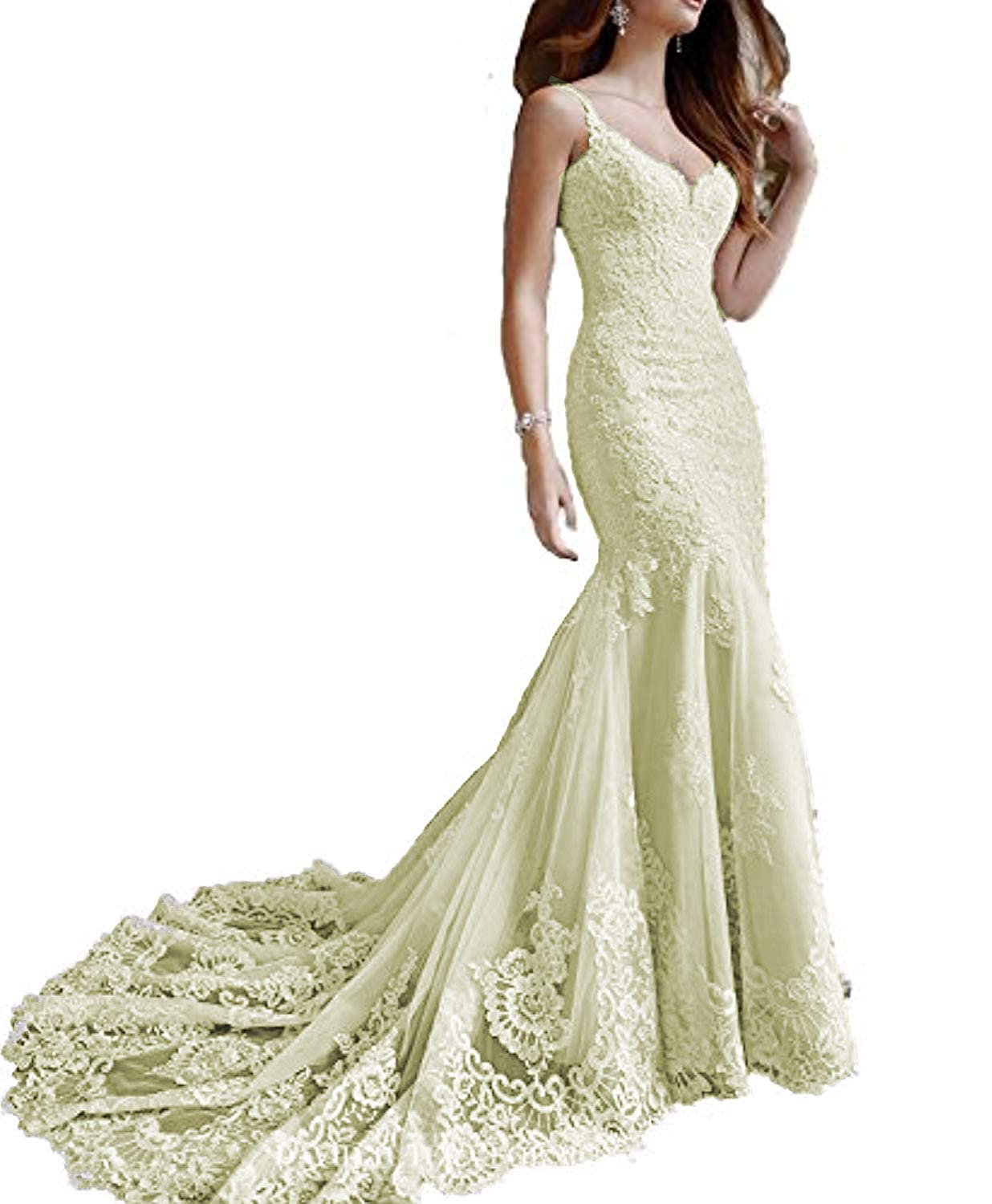 Champagne Marirobe Women's Mermaid Lace Applique Formal Dresses V Neck Backless Wedding Dresses Sleeveless Evening Dresses