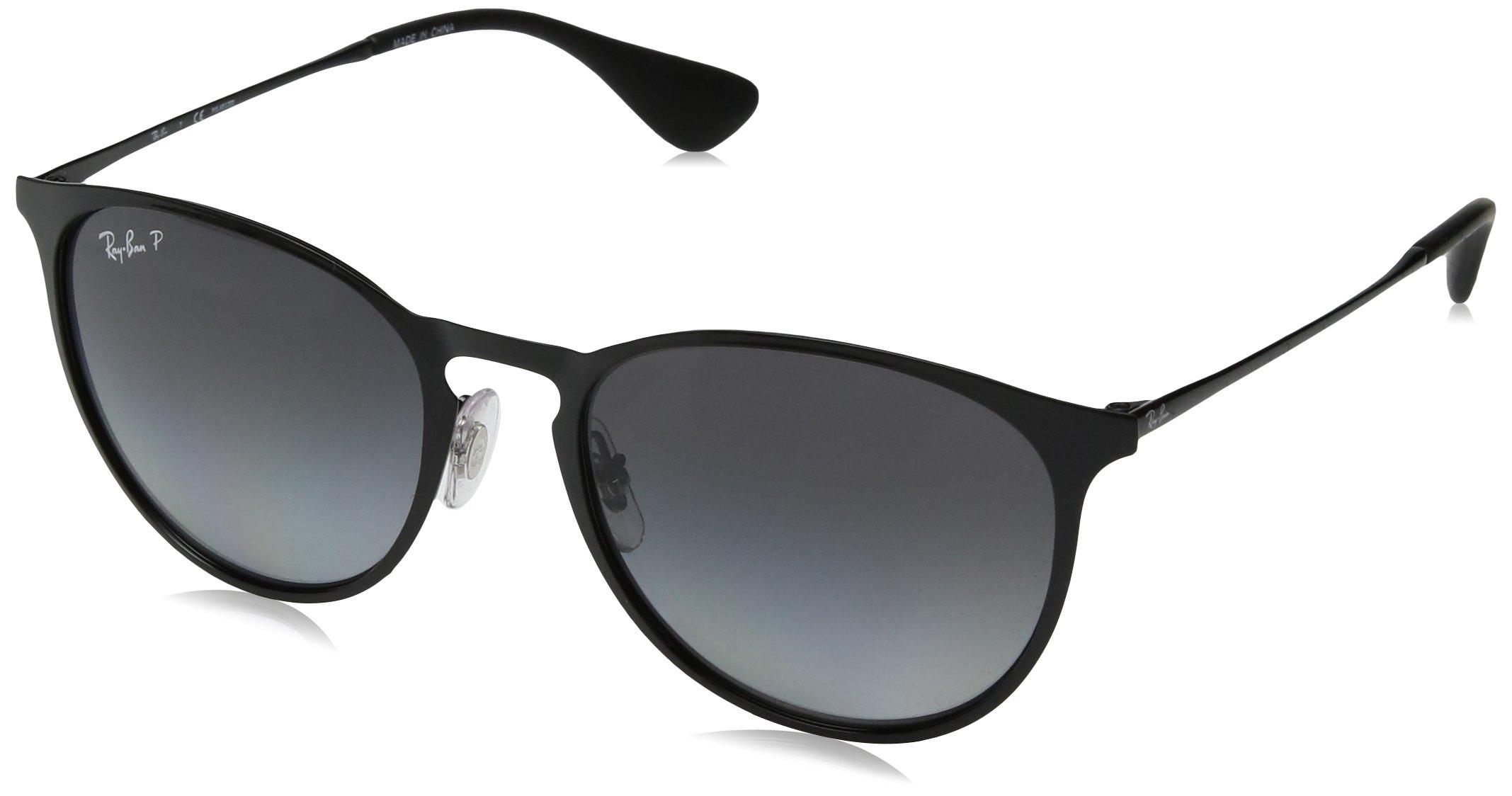 RAY-BAN RB3539 Erika Round Metal Sunglasses, Shiny Black/Polarized Grey Gradient, 54 mm by RAY-BAN