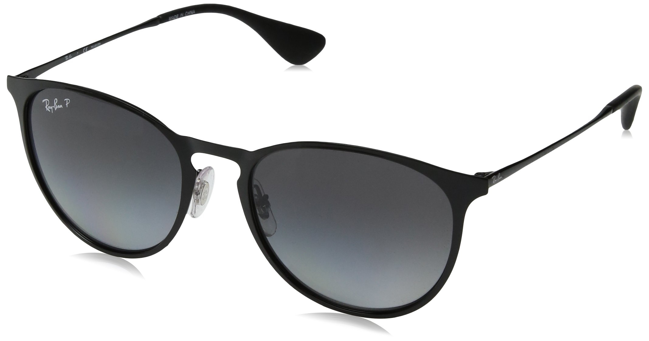 Ray-Ban RB3539 Erika Round Metal Sunglasses, Shiny Black/Polarized Grey Gradient, 54 mm