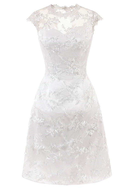 Brautkleid Hochzeitskleider Vintage Kurz Damen Spitzenkleid Abendkleider A Linie D-DW068A