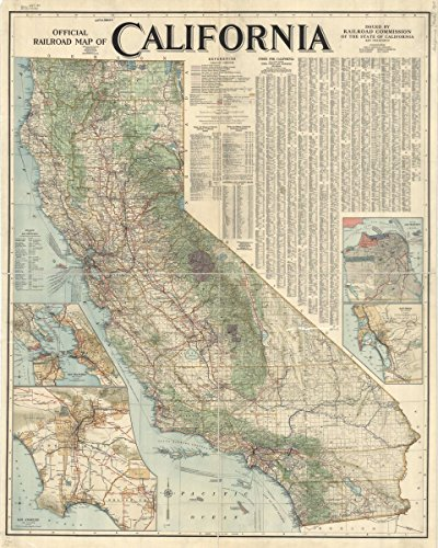 (Historic Map | California 1915, Official Railroad map | Official Railroad map of California | Antique Vintage Reproduction 18in x 24in)