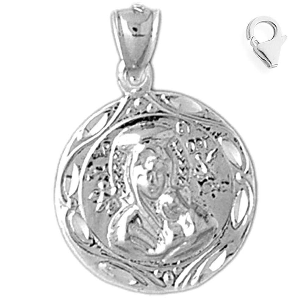 JewelsObsession Sterling Silver 28mm Our Lady Guadalupe Charm w//Lobster Clasp