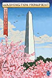 Lantern Press Washington, DC - Washington Monument - Cherry Blossoms (#3) - Woodblock