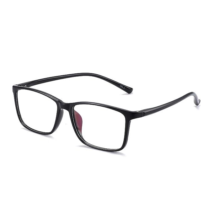 4e7dfb10395 Retro Light TR Rectangular Optical Frame Rx-able Eyeglasses Glasses Women  Men Black