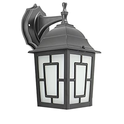 IN HOME One-Light Outdoor Wall Down Lantern, Exterior Light Fixtures with One E26 Base, Wet Rated, Black Matte Finish Cast Aluminum Housing with Frosted Glass Shade, ETL Listed