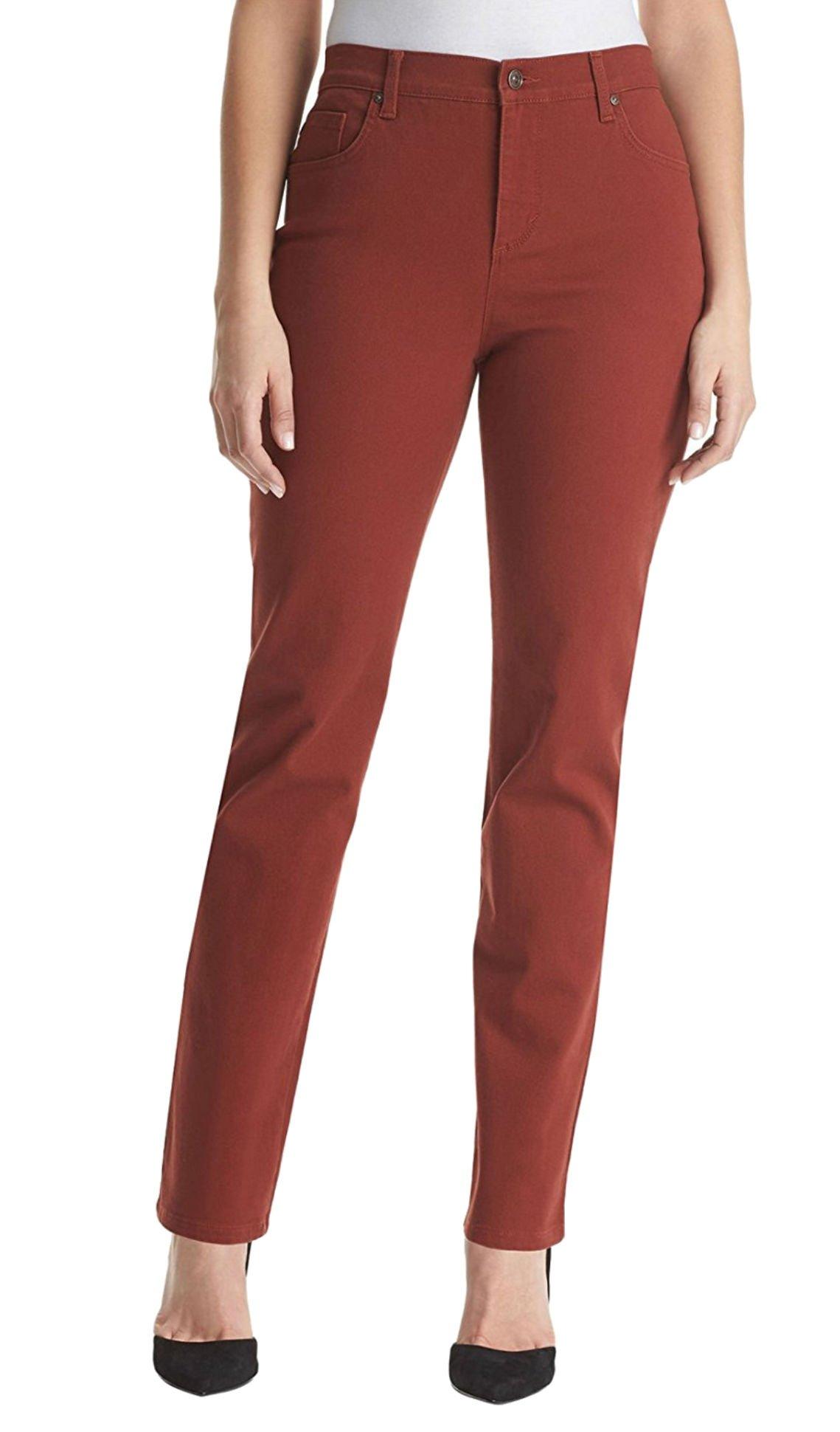 Gloria Vanderbilt Women's Amanda Short Colored Denim Jeans (14P, Roasted Chestnut)