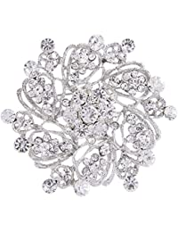Women's Austrian Crystal Elegant Flower Bridal Corsage Brooch Pin Clear Silver-Tone