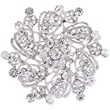 EVER FAITH Women's Austrian Crystal Elegant Flower Bridal Corsage Brooch Pin Clear Silver-Tone