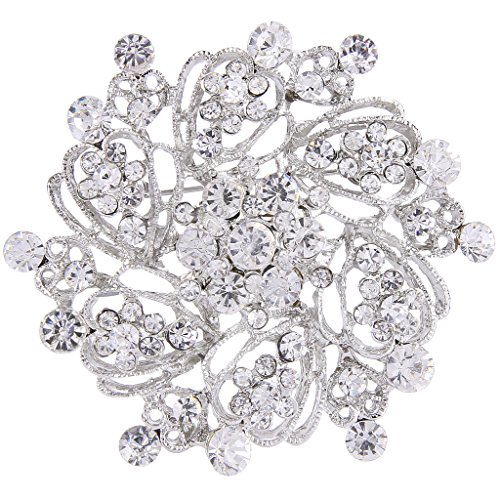 EVER FAITH Women's Austrian Crystal Elegant Flower Bridal Corsage Brooch Pin Clear Silver-Tone ()