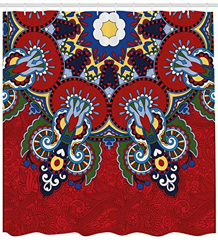 Nyngei Red Mandala Shower Curtain Russian and Ukranian Ethnic Lace Like Flowers Leaves Swirls Vintage Artwork Fabric Bathroom Decor Set with Hooks 70.8x70.8in Red