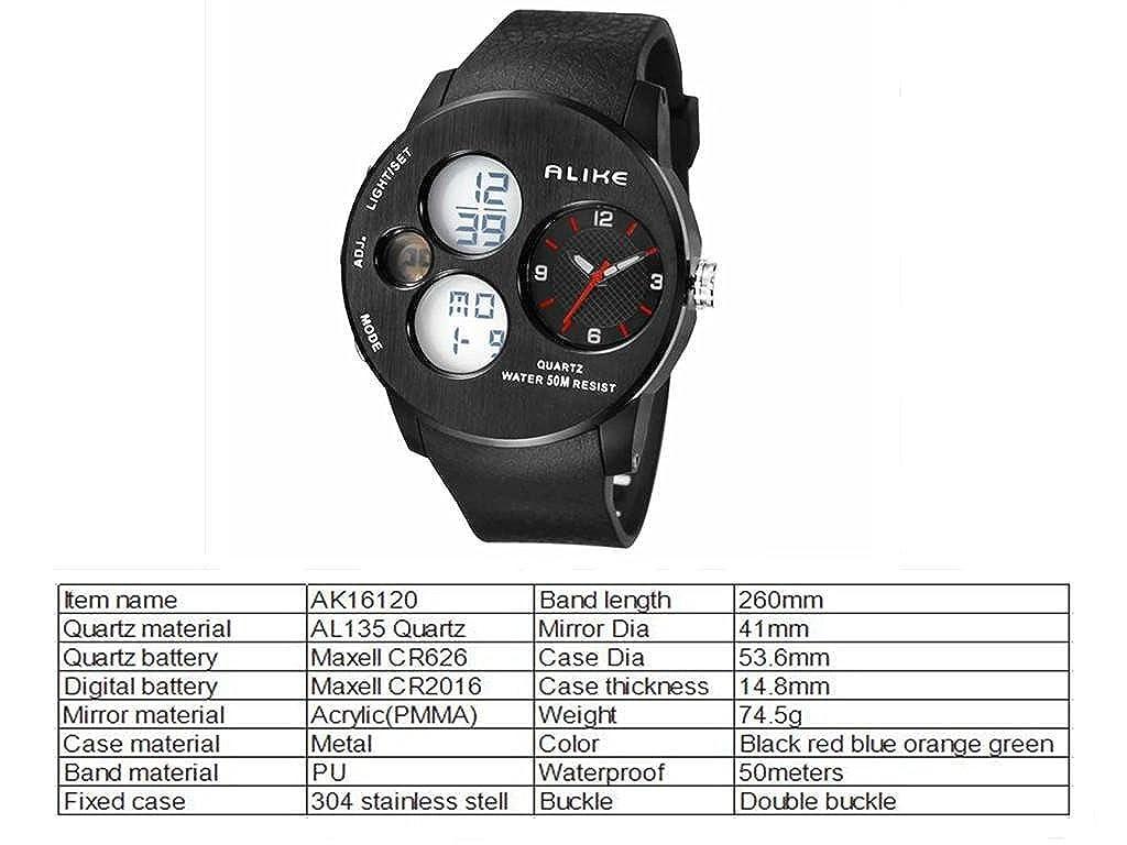 d3f637d618 Amazon | Colofan熱い販売Ak16120ファッションの高級特殊デジタルウォッチクォーツデュアルタイムズ紙は防水腕時計を表示します  (グリーン) | 腕時計 | 腕時計 通販