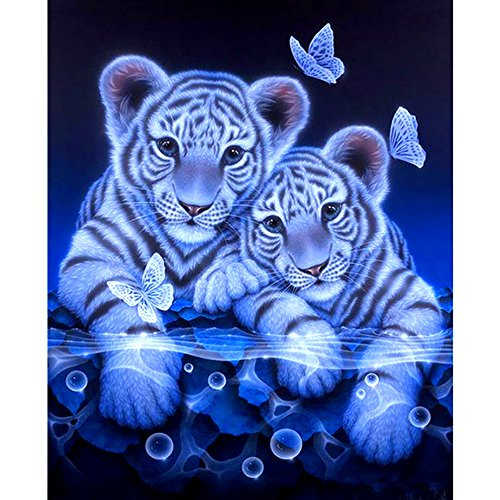 5D DIY Diamond Painting Kit,Cartoon Animal Tiger Partial Drill Diamond Cross Stitch Craft Embroidery Round Diamond Home Shop Office Decor Gift (Gray, 25X30)