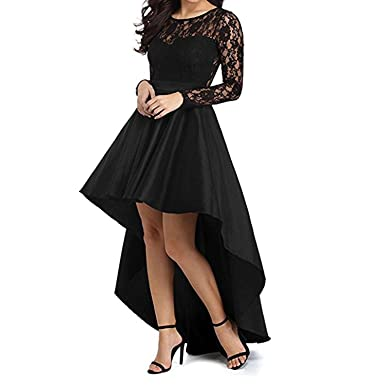 Queen Area Womens High Low Long Sleeve Prom Dress Lace Cocktail Party Gowns (US 4