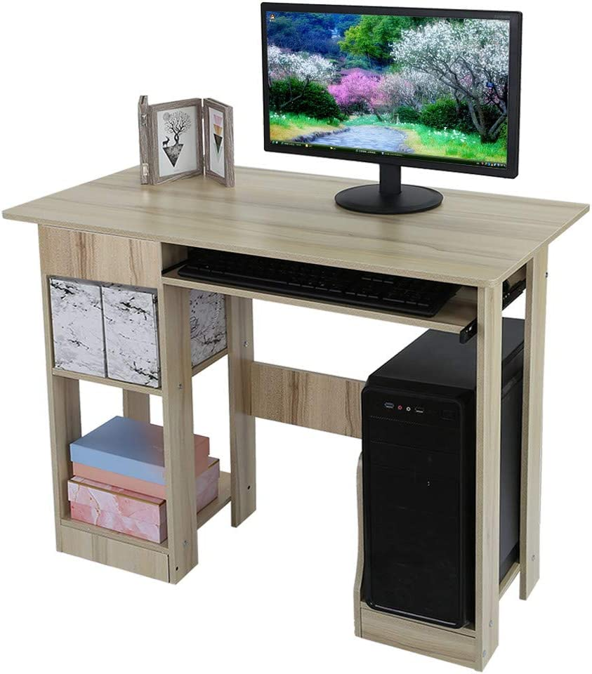 Auwish Desktop Computer Desk with Keyboard Tray, Wood Home Office Study  Writing Desk Storage Shelves Small Spaces Workstation Desk Laptop Tables
