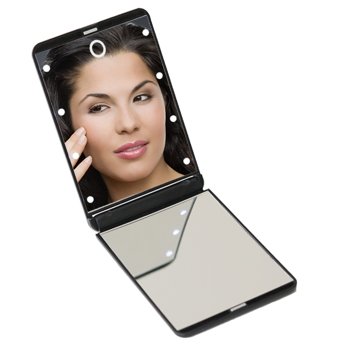 8Pcs Led Lighted Makeup Mirror Aopet 1X&2X Double Sided 315°Adjustable Illuminated Vanity Mirror Folding Portable Compact Travel Cosmetic Mirror with Touch Screen Power Switch for Girls Women Men
