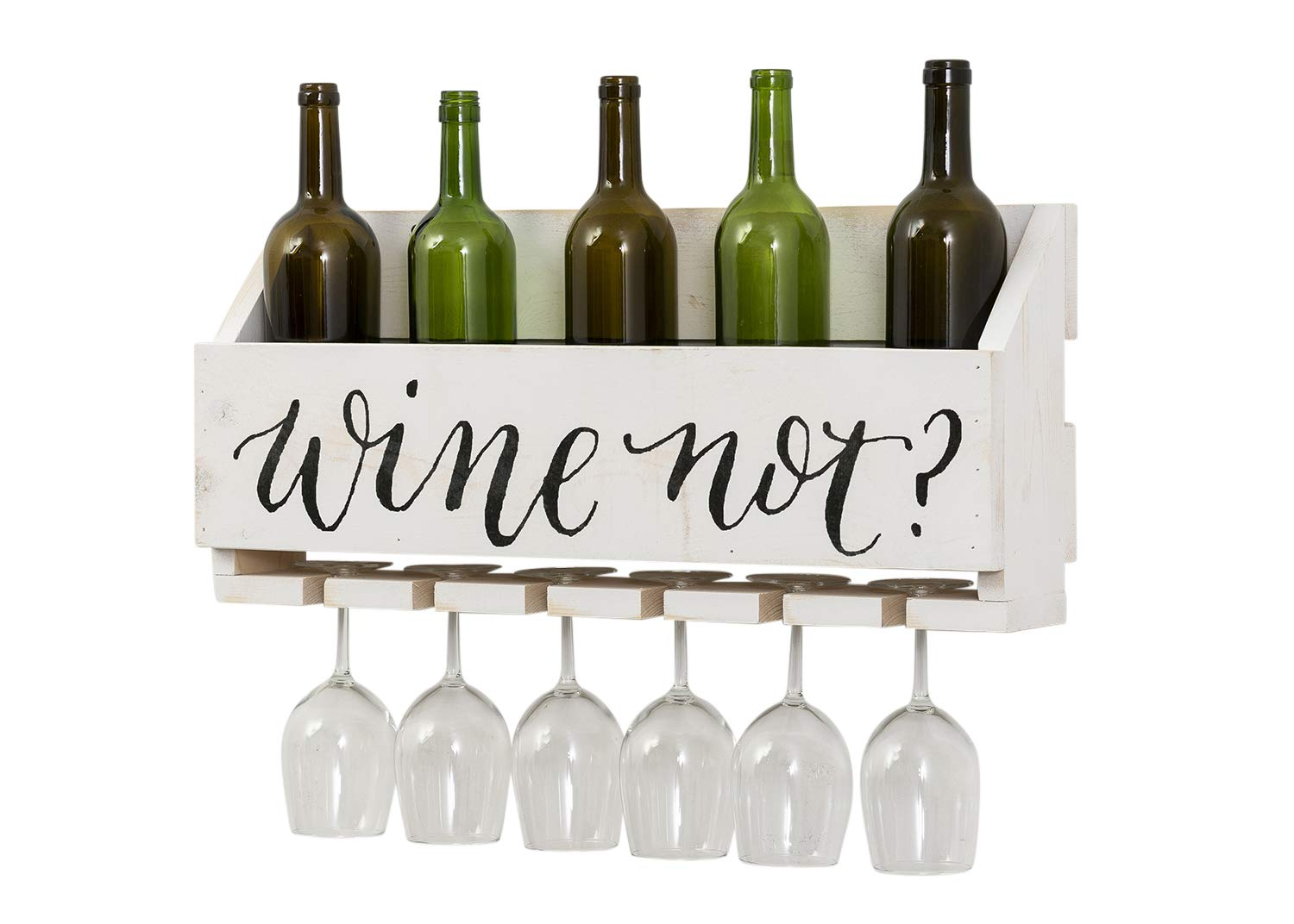 Del Hutson Designs - The Little Elm Wine Rack w/Quote 'Wine Not?', USA Handmade Reclaimed Wood, Wall Mounted, 4 Bottle 4 Long Stem Glass Holder (White) by Del Hutson Designs