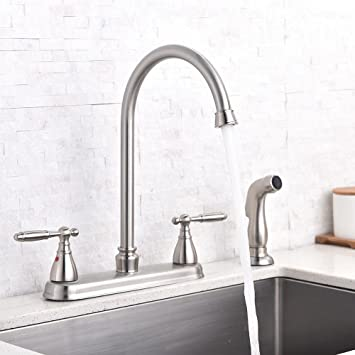 Shaco Brushed Nickel Two Handle Stainless Steel Kitchen Faucet With  Sprayer,High Arch 360 Swivel