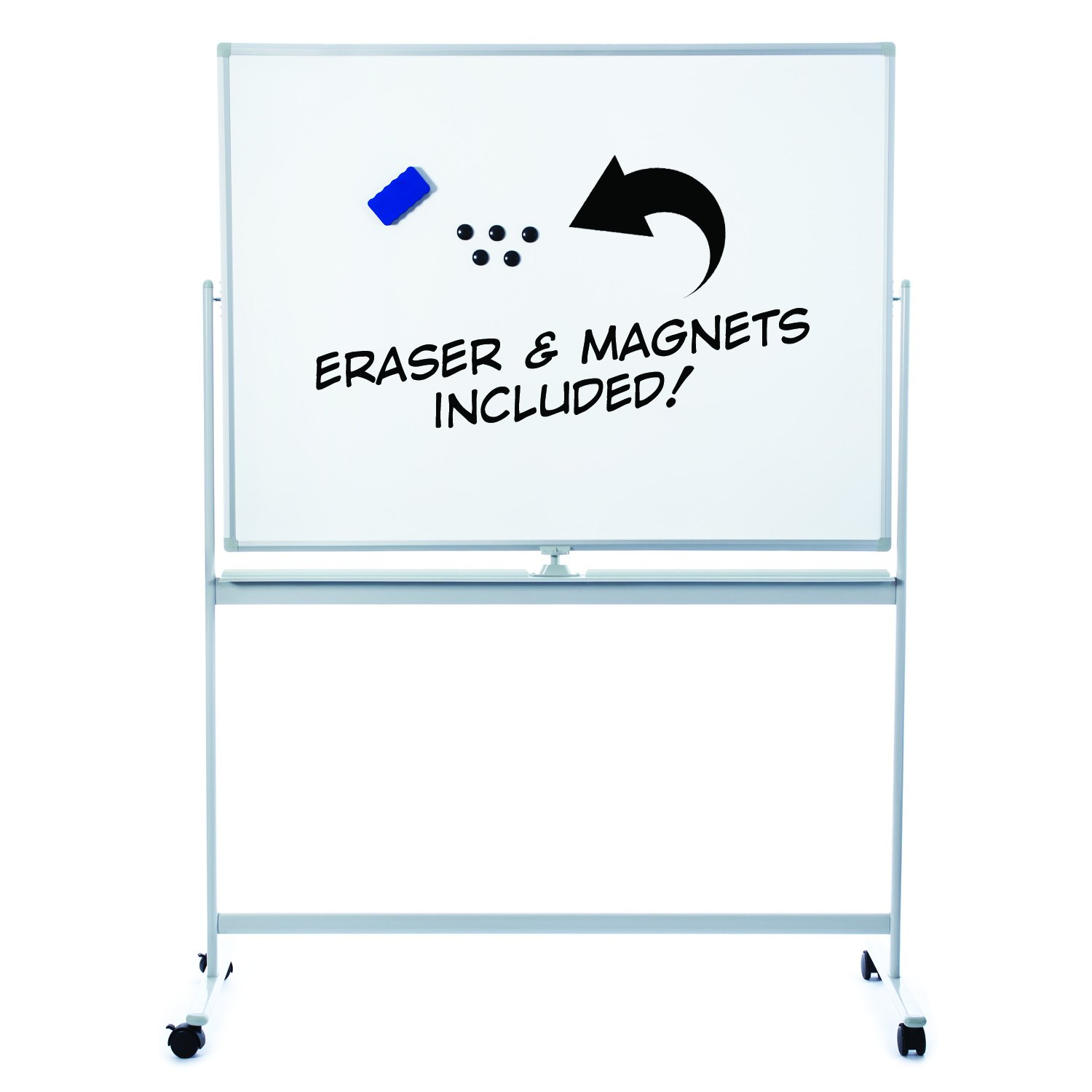 Large Mobile Magnetic Dry Erase Board with Magnets and Eraser | Easy Clean 48x36 Flip-Over Whiteboard on Rolling Wheels. Double Sided Portable Writing Board on Stand for Office, Classroom, or Home Use