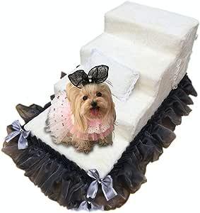 UTOPIAY Princesa Escaleras para Perros/rampa Lavable para Mascotas con Encaje Falda/Gato y Perro 3~4 Pasos Escalada Esponja respetuosas con el Medio Ambiente Pequeño Perro Sofá Cama Escalera,4steps: Amazon.es: Hogar