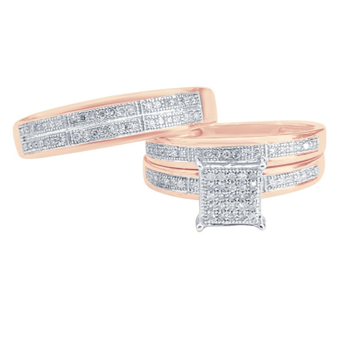 2heart Ladies Sim Diamond Trio Bridal Set Engagement Ring His And Her 14K Rose Gold Fn