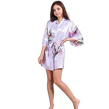 GY&H Schlafen Robe Silk Frauen Satin Kimono Kurze Bademantel Bequeme ...