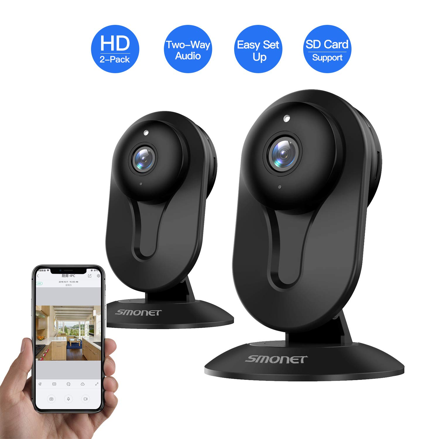 SMONET Wireless IP Camera, HD IP Security Camera Built in Two-Way Audio, Security Surveillance CCTV Camera with Night Vision-Cloud Service Available 2packs,Black