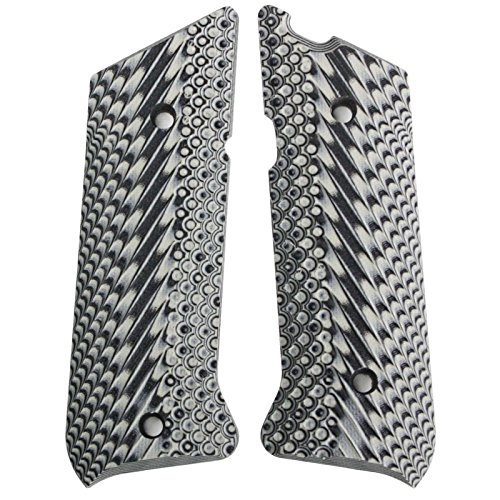 StonerCNC Ruger Mark II Mark III Gun Grips Slash & Burn G10 Fits 22lr Ruger MK3 MK2 Series Pistol (Light Grey/Black)