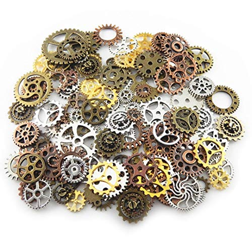 (100g (70-80pcs) Mix Skeleton Steampunk Clock Watch Gear Cog Wheel Pendant Charms Jewelry Making Diy Steampunk Gear Pendant Charms Wholesale (4 color mixed))