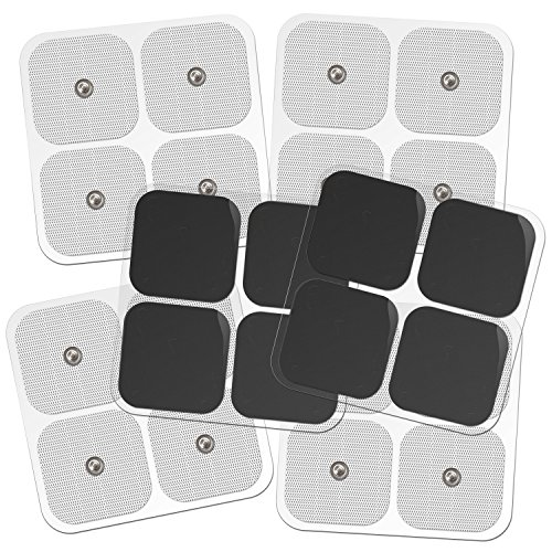 DONECO 2'' Square TENS Unit Electrodes, Snap On Pads 12 Pairs (24Pads) Electro Pads for TENS Therapy - Universally Compatible with Most TENS Machine Models - Self-Adhering, Reusable and Premium Quality by DONECO