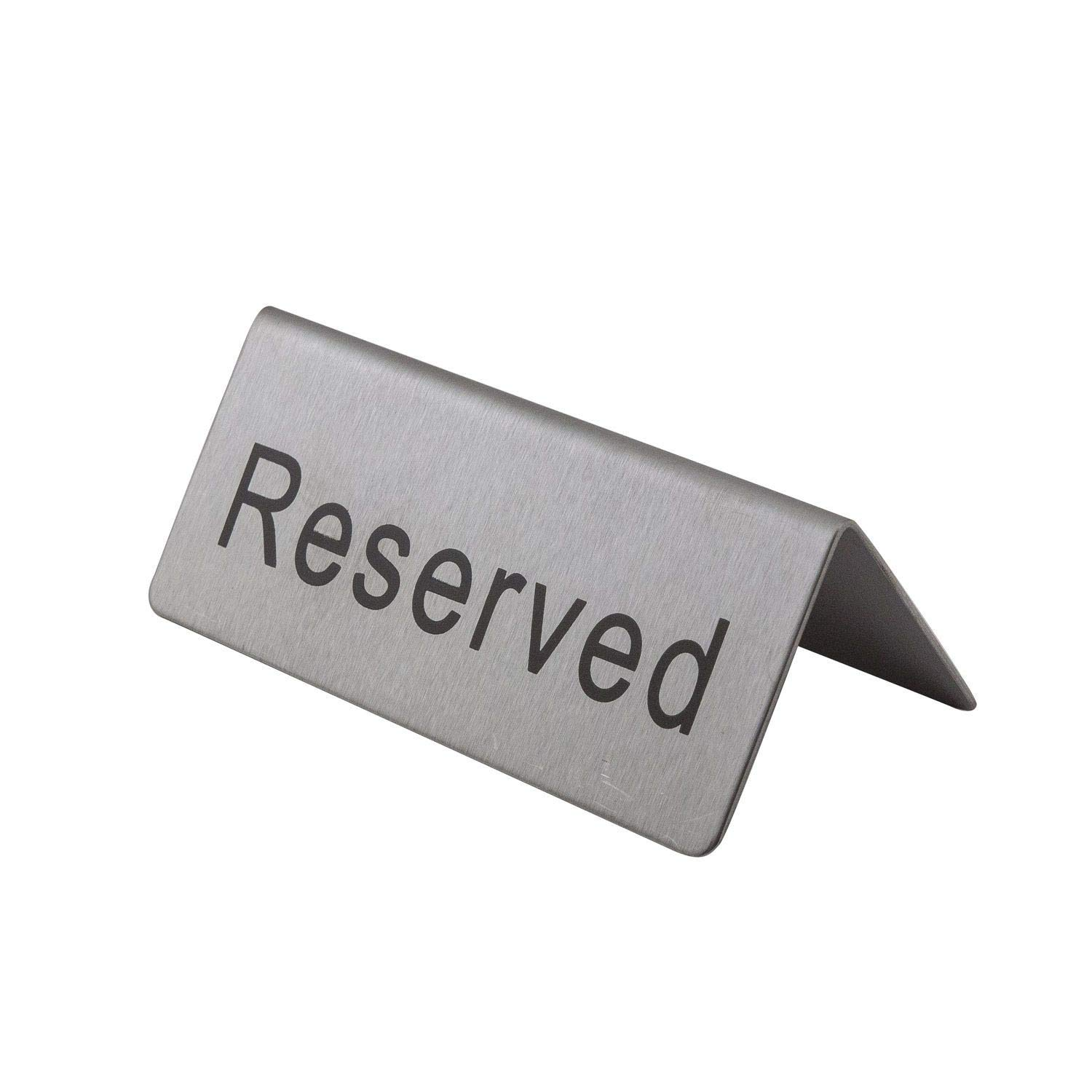 ''Reserved'' Stainless Steel Table Sign - 4.75 Inches - Set of 6 Signs