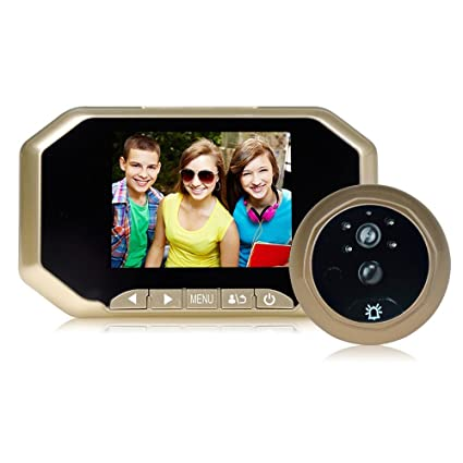 Giantree Intercomunicador con mirilla con mirilla, (color dorado) Visor LCD de 3,