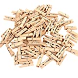 Leisial 50 pcs 1 inch Craft Wooden Mini Pegs Clothespins Photo Clips Hardwood Clothes Pegs for Ark Craft Cards Hanging Photos Clothes Kids Arts