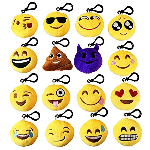 16 Pack Emoji Mini Plush Pillow Keychains