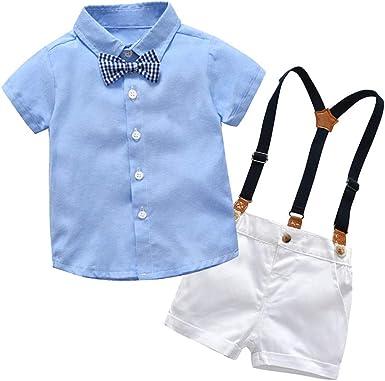 Mitlfuny Niños Camisas de Manga Corta Verano Conjunto de Ropa Enrejado Corbata Botón Blusas para Bebé Niña Niño Tops + Pantalones Cortos de Ajustables Tirantes Trajes 2 Piezas 3-24 Meses: Amazon.es: Ropa